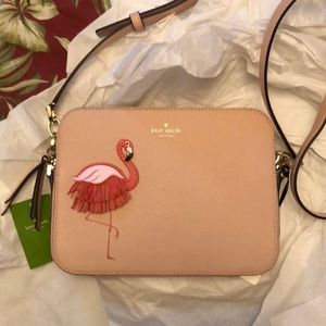 Kate Spade by the pool flamingo camera bag